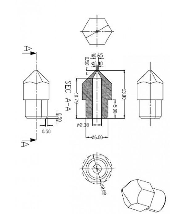 MK7 MK8  STEEL NOZZLE 0.2